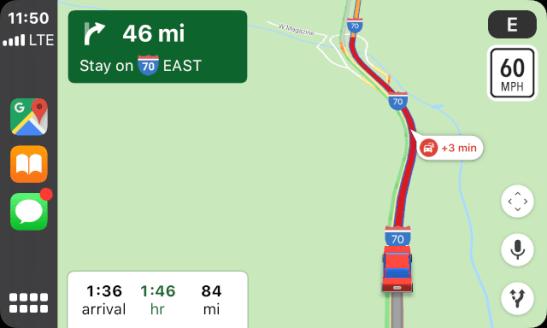 heavy traffic, breckenridge to denver, google maps carplay gps map