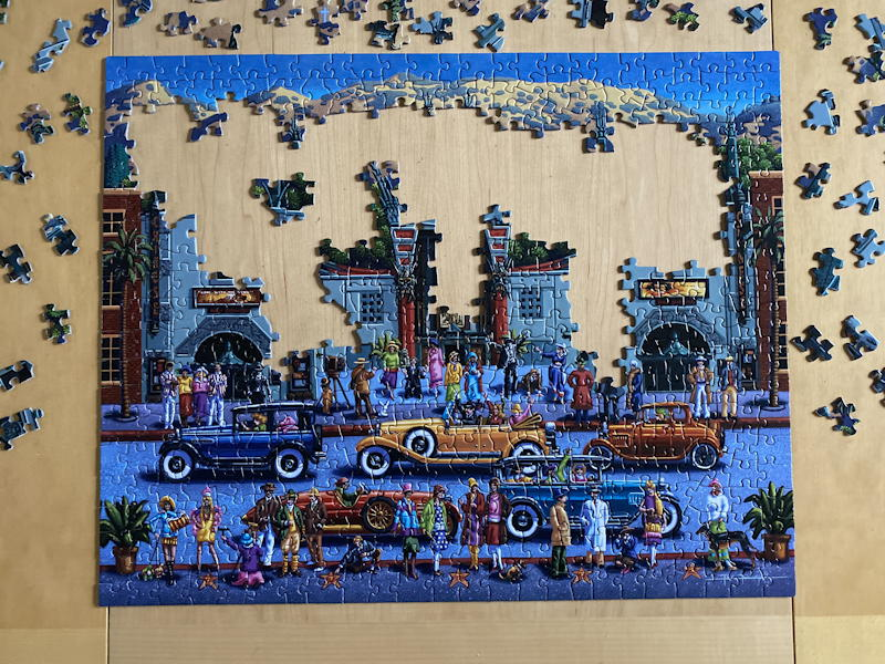 dowdle folk art jigsaw puzzle - hollywood - mostly solved