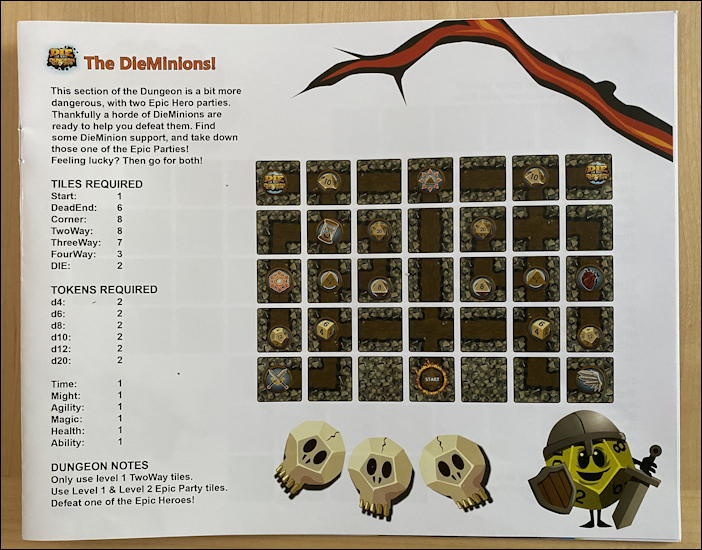 die in the dungeon game review - dieminions dungeon setup