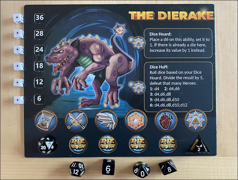 die in the dungeon game review - the dierake monster card