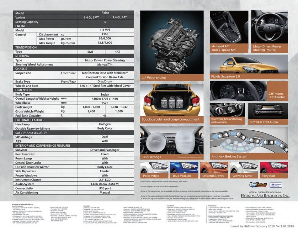 2019 Hyundai Reina Brochure