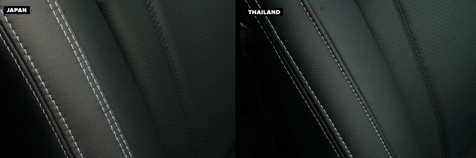 Seat stitching of of Thai-Made and Japan-Made Forester