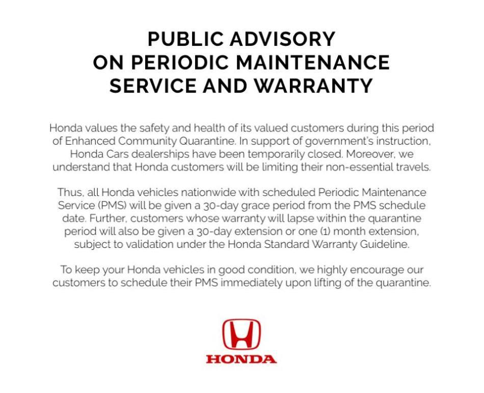 Honda Cars PH Enhances Its Warranty And PMS Amid Enhanced Community Quarantine