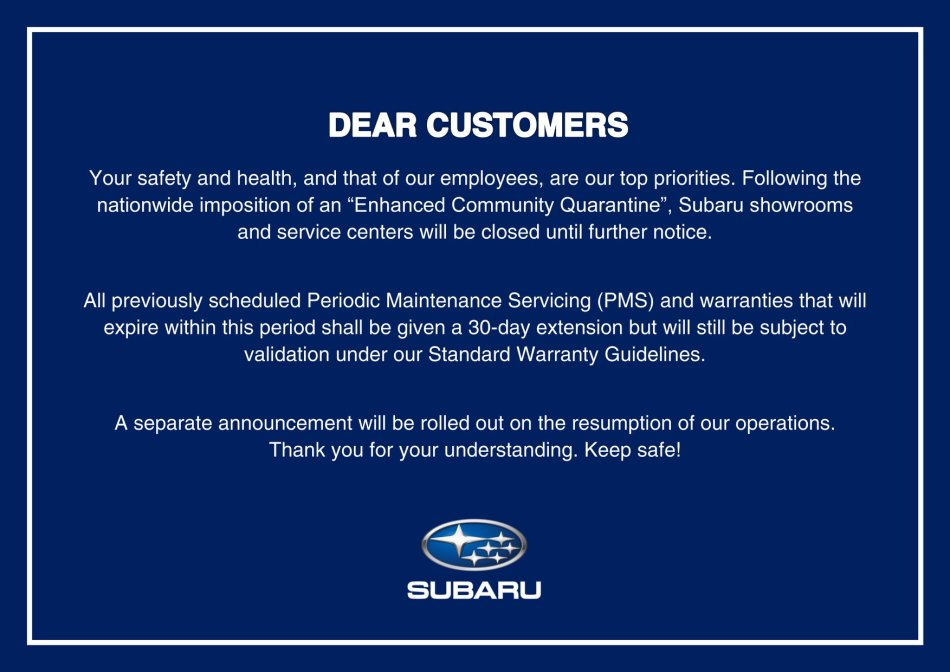 Subaru PH Implements Extensions For Its Maintenance And Warranties