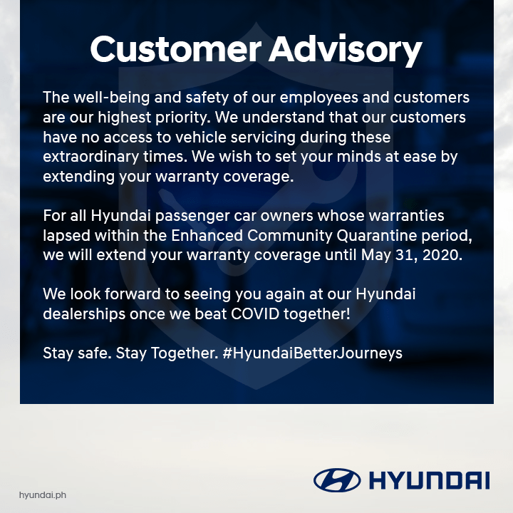 Hyundai PH Announces Warranty And PMS Extensions