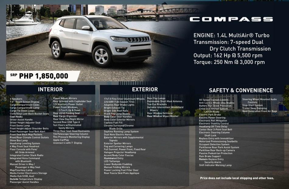 2020 Jeep Compass Philippines Specs