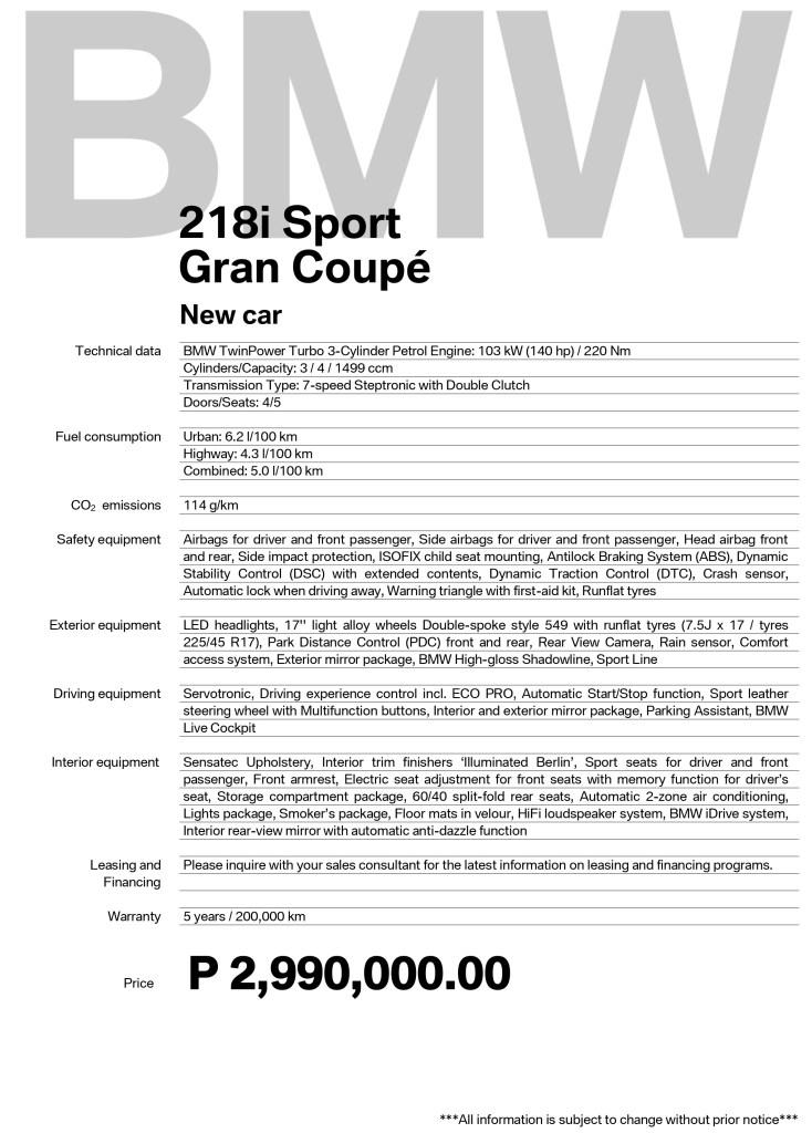 BMW 218i GranCoupe Philippine Specs