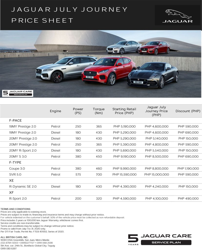 Jaguar PH Is Offering Discounts Of As Much As P1.190M This July