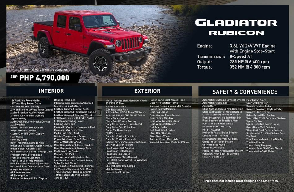 2020 Jeep Gladiator Rubicon Philippines Specs