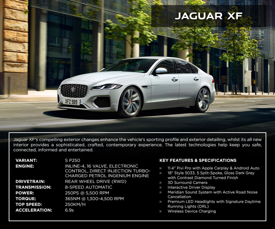 2021 Jaguar XF S P250 Philippines Specs