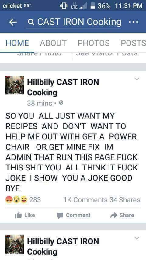 Hillbilly Cast Iron cooking scam