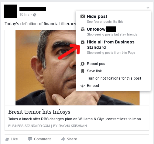 how to hide posts from Facebook
