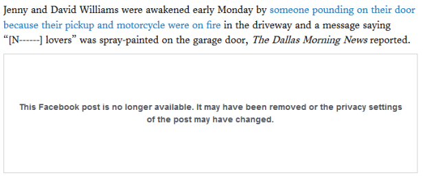 Racial slurs Denton TX