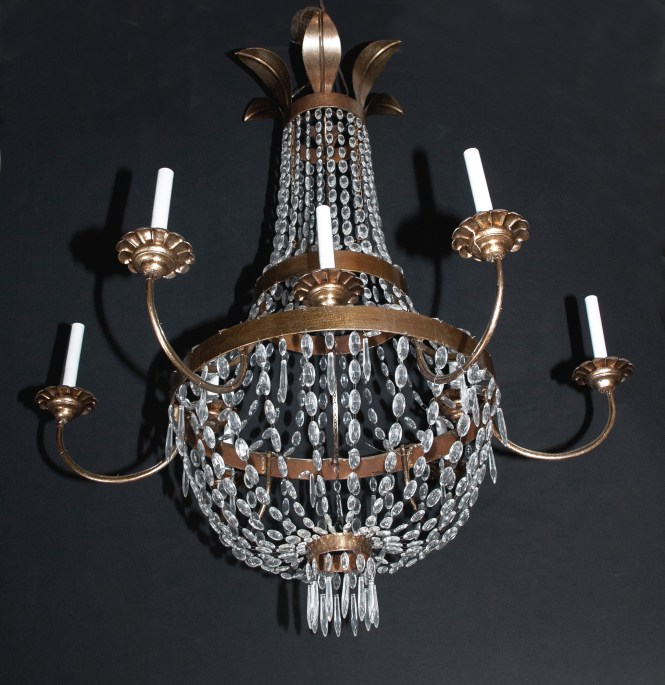 Italian Iron Tole And Crystal Empire Chandelier