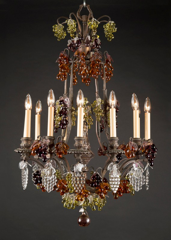 One Of A Pair Belle Epoque Bronze Colored Fruit Crystal Chandelier