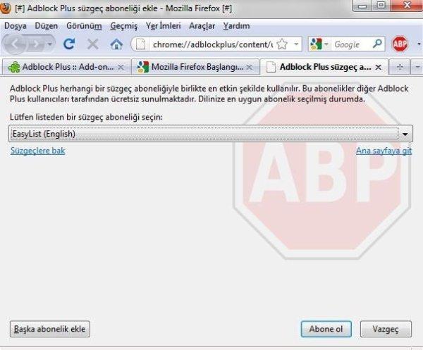 AdBlock Plus ilk süzgeç seçimi