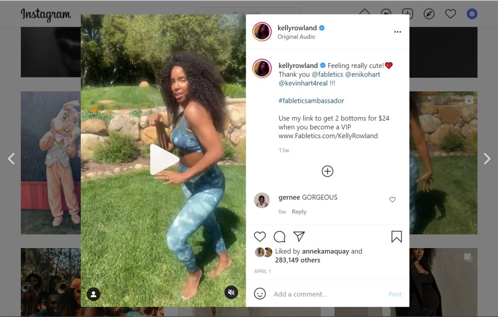Screenshot of Kelly Rowland's Instagram video of her dancing in Fabletics clothing as an influencer marketing ambassador.