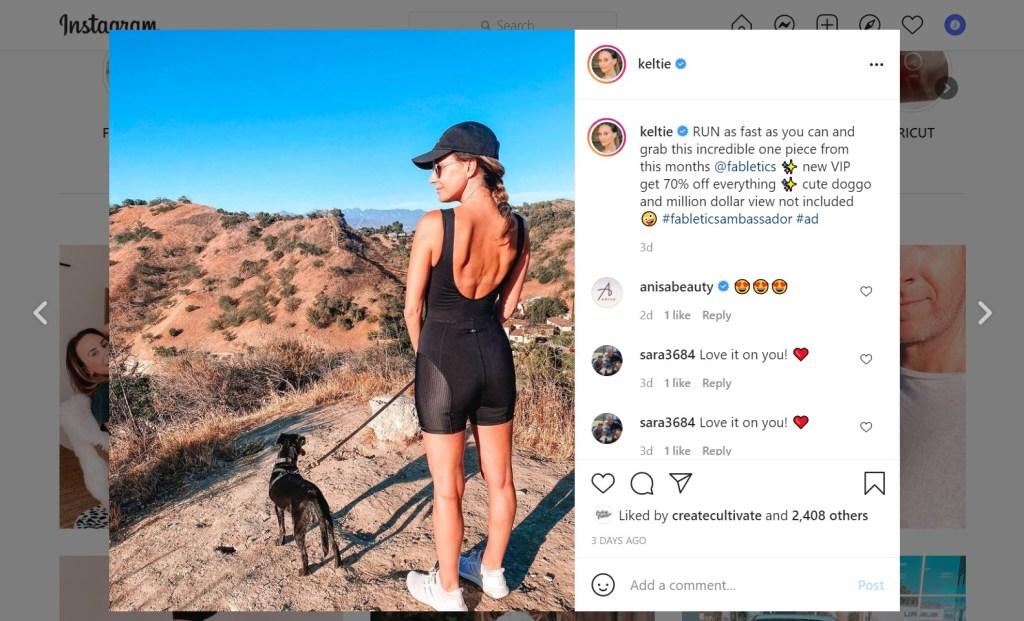 Screenshot of Keltie Knight's Instagram post of her wearing Fabletics clothing as an influencer marketing ambassador.