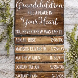 Grandchildren Handmade Solid Wood Sign