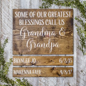 Grandparent Birthday Dates Handmade Solid Wood Sign
