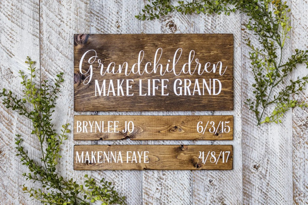 Grandchildren are Blessings Birthday Dates Handmade Solid Wood Sign