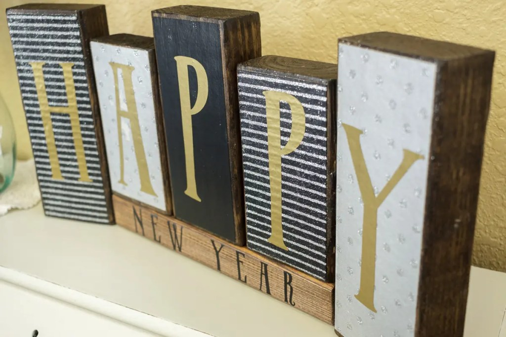 New Years Day Handmade Solid Wood Sign
