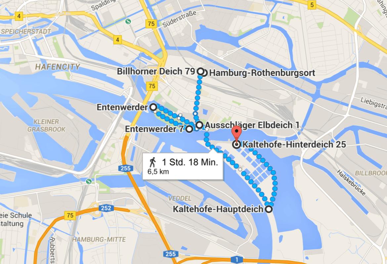 Laufen in Hamburg: Route Entenwerder