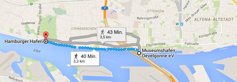 Laufen in Hamburg: Route Övelgoenne
