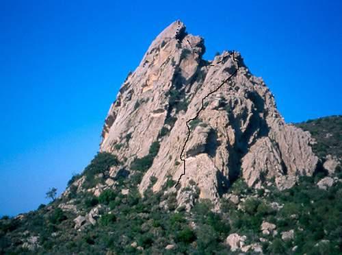 2004.04 P.ta dei Banditi cresta SSW con tracciato , Sardegna