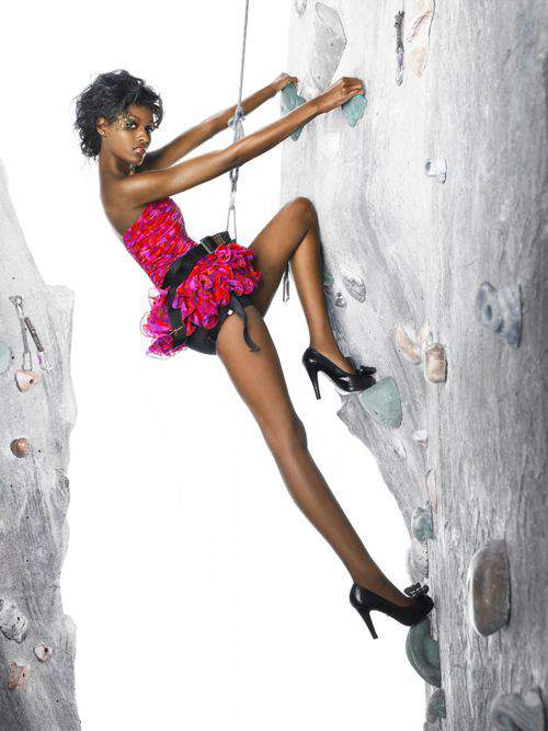 """The Girls Go Rock Climbing"" -- The girls are left hanging in the air for an edgy fashion photo shoot on a rock-climbing wall, on America's Next Top Model on The CW. Pictured: Ebony Photo: Matthew Jordan Smith/Pottle Productions Inc ©2007 Pottle Productions Inc. All Rights Reserved."