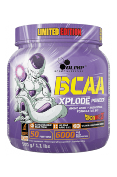 BCAA Xplode in its limited edition branded with the most popular characters from the Dragon Ball Universe, will be the perfect to supplement the most important Branched Chain Amino Acids with Glutamine!