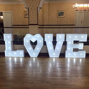 Light up Love letters for Weddings in Yorkshire