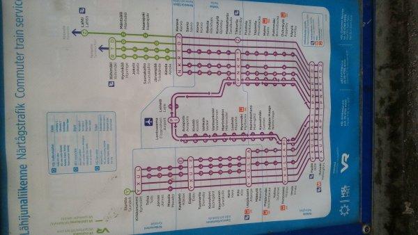 ヘルシンキ近郊の路線図