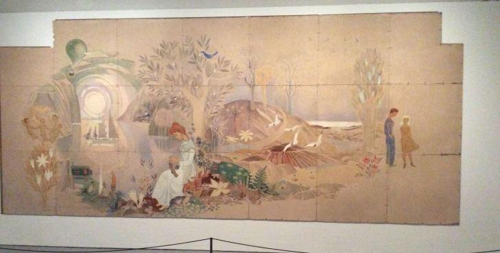 壁画「遊び」の隣に飾られていた作品。これまでのトーベ作品に共通する淡いタッチと独特の世界観が描かれている