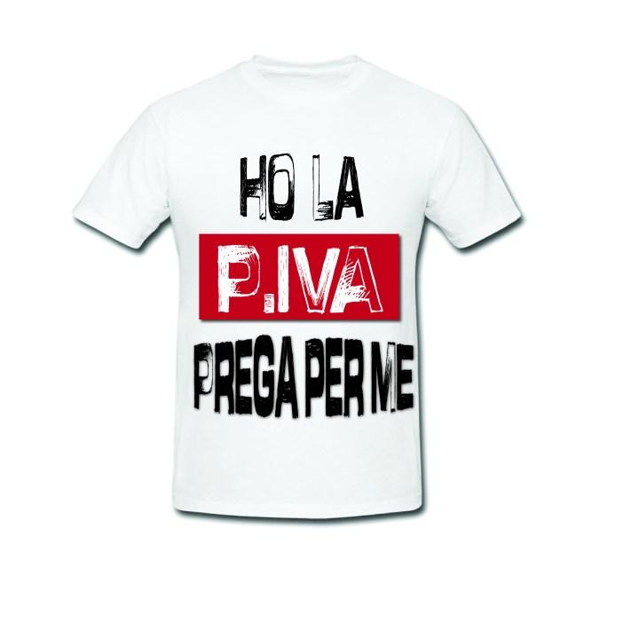 Maglietta con scritta p. iva - base bianca - Gogolfun.it