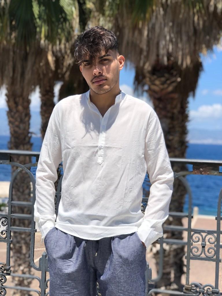 Camicia uomo coreana in lino bianco
