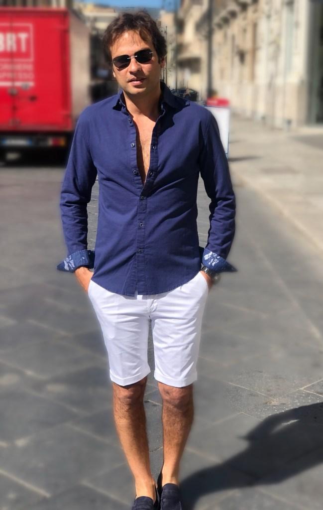 camicia di lino blu - gogolfun.it
