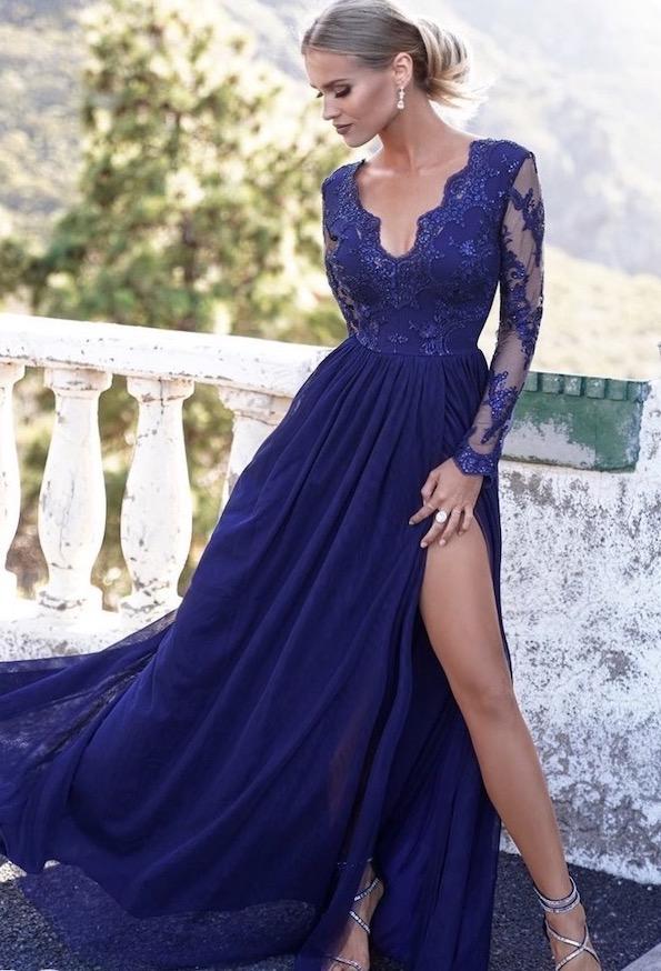 Vestito lungo elegante blu con manica in pizzo - gogofun.it