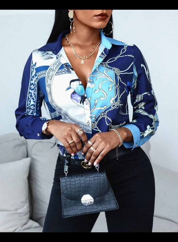 Camicia donna, disegno tipo Cavalli