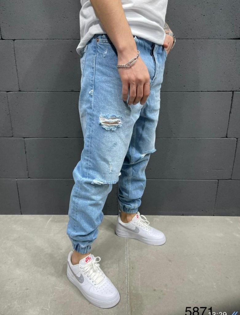 Jeans uomo, boyfit con elastici alla caviglia - gogolfun.it