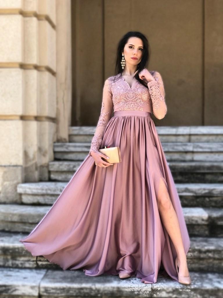 Vestito lungo rosa - Con manichette - Gogoflun.it