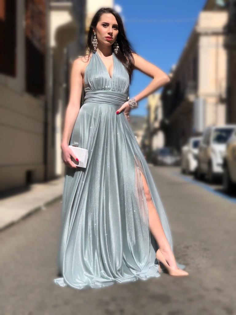 Vestito lungo elegante color tiffany - Gogolfun.it