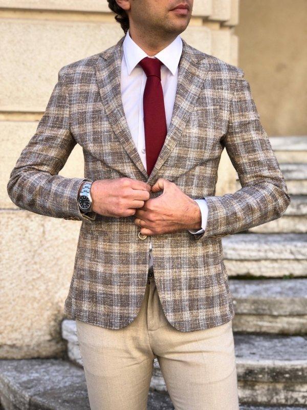 Giacca uomo a quadri, leggera e slim - Completi uomo in lino sono ideali per cerimonie estive - Gogolfun.it