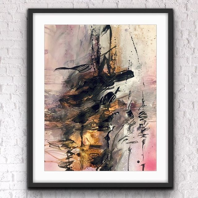 Rising, Sumi in & mixed media on paper – @andreacircles