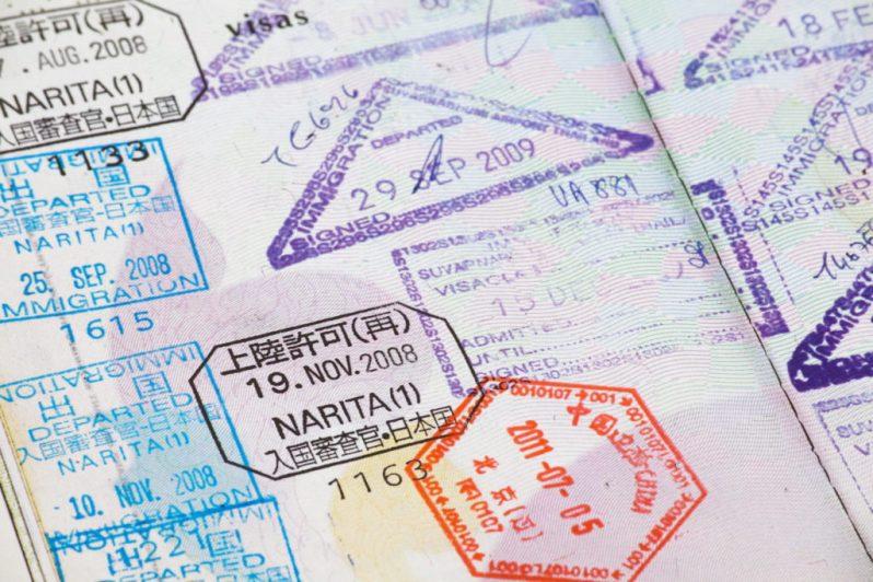 Stämplar från Japan i pass
