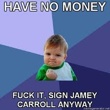 No Money Sign Jamey Carroll