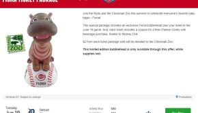 Cincinnati Reds Fiona Bobblehead Promotional Ticket Package June 19