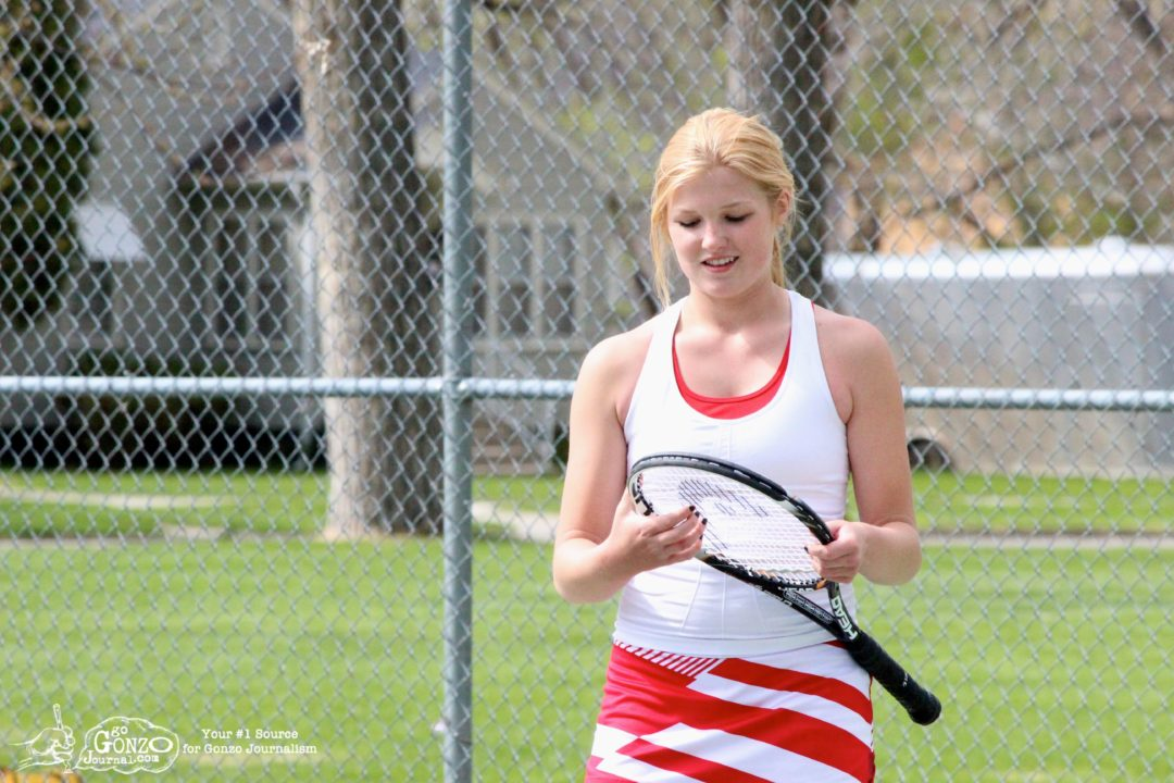 Dawson County High School Girls Tennis Marenah Crockett Smiles, May 15, 2014