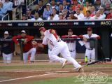 Los Angeles Angel Mike Trout runs out of the box after smashing a drive to left field during the 2014 MLB All-Star Game