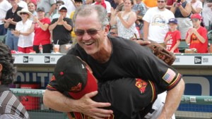 Rochester Red Wings Manager Gene Glynn celebrates making the playoffs last season